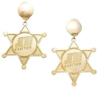 Jean Paul Gaultier Gold Star Dangle Earrings