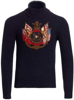 Ralph Lauren Purple Label Embroidered Cashmere Turtleneck Sweater