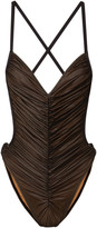 Thumbnail for your product : Norma Kamali Butterfly Mio Open-back Ruched Stretch-mesh Swimsuit