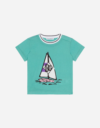 Dolce & Gabbana Jersey T-Shirt With Boat Print