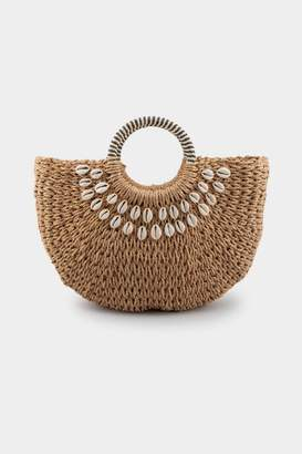 francesca's Riley Cowrie Shell Embellished Tote - Natural