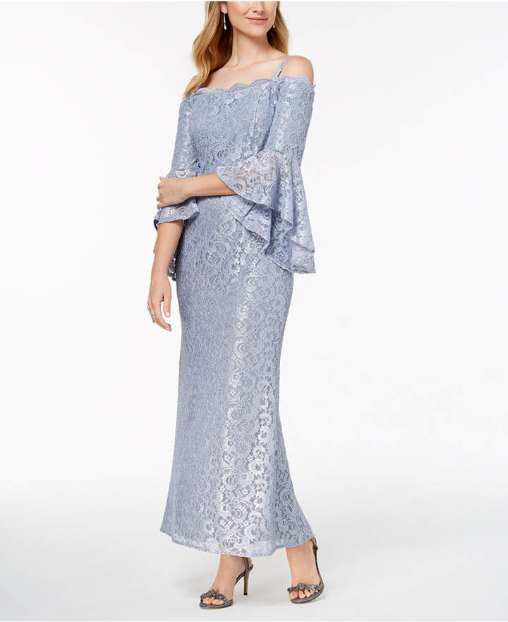 R & M Richards Lace Off-The-Shoulder Bell-Sleeve Gown