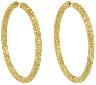 Carolina Bucci Large Florentine Finish Thick Round Hoop Earrings - Yellow Gold