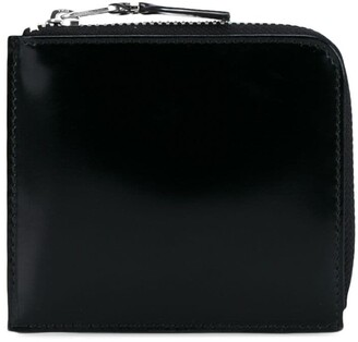 Comme des Garcons Gloss Black Silver Leather Wallet