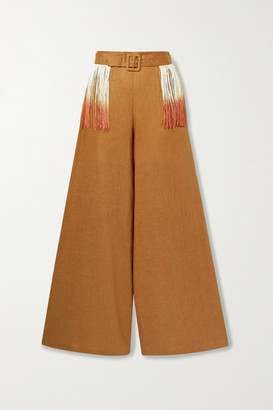 Miguelina Pamela Belted Fringed Linen Wide-leg Pants - Tan