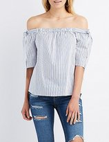 Charlotte Russe Striped Off-The-Shoulder Tie Top