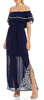 Sugar Lips Sugarlips Off-the-Shoulder Embroidered Maxi Dress