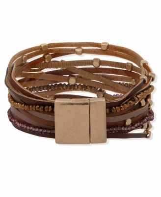 lonna & lilly Magnetic Wrap Bracelet Gold and Burgundy