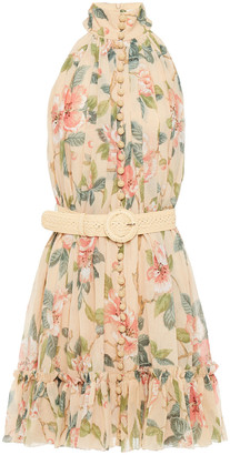 Zimmermann Belted Floral-print Cotton And Silk-blend Crepon Mini Dress