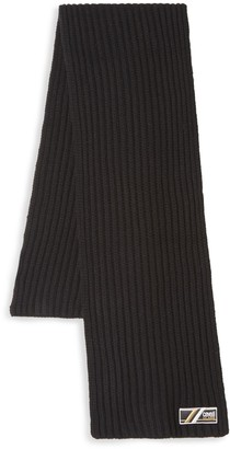 Class Roberto Cavalli Ribbed-Knit Wool Scarf