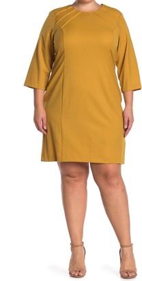 Sharagano Pintuck 3/4 Sleeve Sheath Dress (Plus Size)