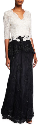 Rickie Freeman For Teri Jon Premier Chantilly Lace Embroidered Gown