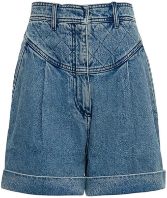 Philosophy di Lorenzo Serafini High Waisted Cotton Denim Shorts