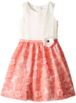 Us Angels Brocade Lace Sleeveless Dress w/ Satin Ribbon Trim (Toddler/Little Kids)