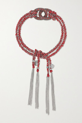 Carolina Bucci Love Lucky 18-karat White Gold, Silk And Sapphire Bracelet