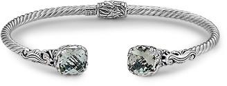 Samuel B. Sterling Silver & 18K Gold Green Amethyst Bangle Bracelet