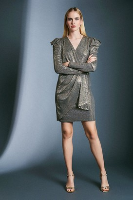 Karen Millen Gold Sequin Wrap Jersey Dress