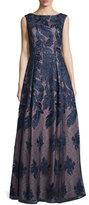 Aidan Mattox Sleeveless Embroidered Ball Gown, Twilight