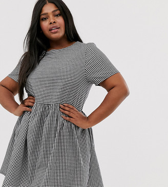Daisy Street Plus short sleeve smock dress in gingham-Black