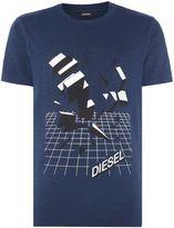 Diesel Grid Print Logo T-shirt