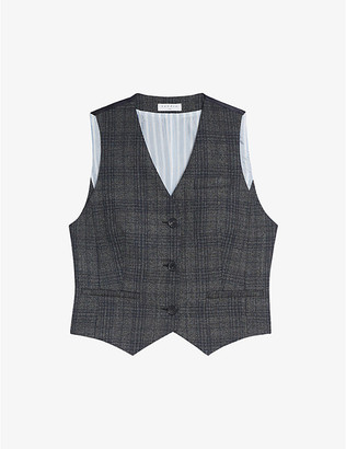 Sandro Anthey checked wool-blend waistcoat