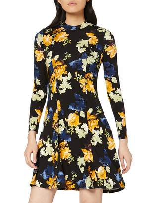 Dorothy Perkins Women's Green Floral Print Jersey Fit & Flare Dress