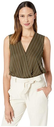 KUT from the Kloth Calla Sleeveless Wrap Top (Olive) Women's Clothing