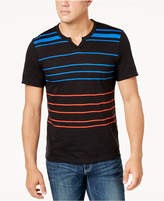 INC International Concepts I.n.c. Men's Split-Neck Striped T-Shirt, Created for Macy's
