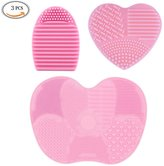 3 Pcs Makeup Brush Cleaner Kit, Silicone Cosmetic Clean Tools, Egg Shape Heart Shape Finger Glove Mitt & Large Apple Shape Mat Brush Cleaner (Pink) by DAXUN