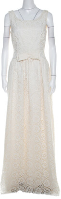 Dolce & Gabbana Cream Lace Waist Bow Detail Maxi Dress M