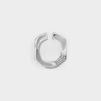 Numbering Pave Chain Unit Earcuff Medium In Platinum Plated Brass And Cubic Zircornia