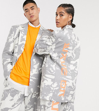 Collusion Unisex oversized blazer in graphic print