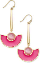 Kate Spade 14k Gold-Plated Cat's Eye Stone and Pink Enamel Drop Earrings
