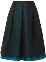 Draper James Betty Duchesse-satin And Lace Midi Skirt - Teal