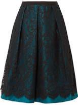 Draper James Betty Duchesse-satin And Lace Midi Skirt - Teal
