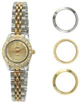 Pierre Jacquard BZ6 Women's Two-Tone Bezel Interchangable Gift Set Watch