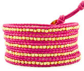 Chan Luu Gold Wrap Bracelet on Pink Leather