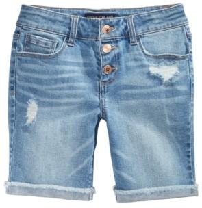 Imperial Star Big Girls Snap-Fly Bermuda Denim Shorts