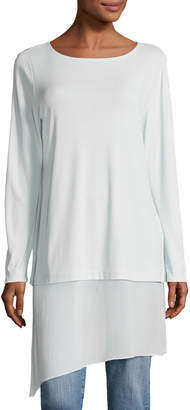Eileen Fisher Bateau-Neck Layered Tunic w/ Asymmetric Sheer Hem