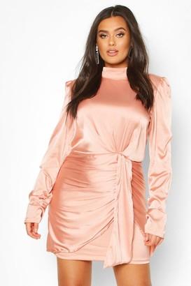 boohoo Plus High Neck Ruched Detail Satin Mini Dress