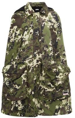 Miu Miu Panama Hooded Camouflage-print Canvas Cape - Womens - Green Multi