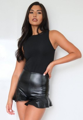 Missguided Black Faux Leather Ruffle Hem Shorts