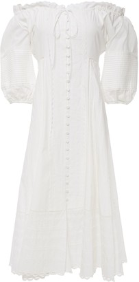 Jonathan Simkhai Off-the-shoulder Crochet-trimmed Cotton Midi Dress