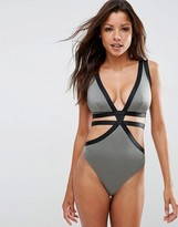Asos FULLER BUST Exclusive Elastic Strappy Plunge Swimsuit DD-G