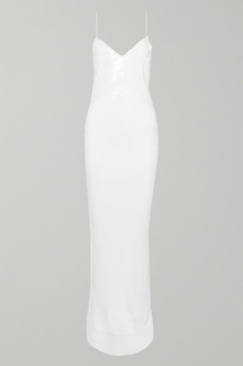 Stella McCartney Sequined Silk-chiffon Gown - White