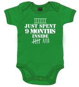 Dirty Fingers, Just spent 9 months inside, Baby Boy Bodysuit, 0-3m, Blue