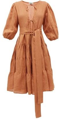 Fil De Vie - Medina Tiered Linen Dress - Tan