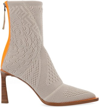 Fendi Jacquard Print Pointed Toe Ankle Boots