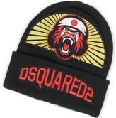DSQUARED2 Gorilla Patch Signature Black Wool Knit Hat