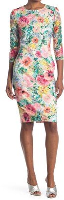 Kensie Floral Crew Neck Sheath Dress